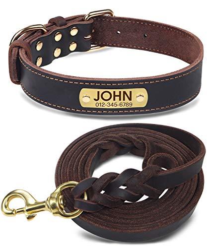 Joytale HundehalsbandundLeineLeder,Braun Hundehalsband Leder Gravur mit Namen,Hundeleine Geflochten für Mittel Große Hunde,XL