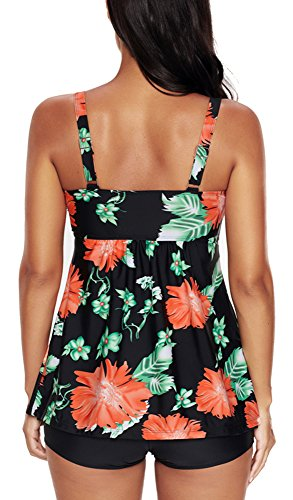 YuanYan Damen Plus Size Tankini Set mit Short Push Up Zweiteiliger Badeanzug Schwarz