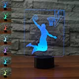 Best Neón Lámparas de mesa - Baloncesto Regalo de cumpleaños 3D Illusion Night Light Review