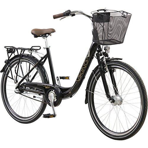 26 Zoll Viking Prelude Citybike Stadt Fahrrad Licht 3 Gang Nexus, Farbe:Schwarz