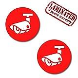 Skino™ 2 x Videoüberwachung Aufkleber Sticker Warnaufkleber Kamera Objekt videoüberwacht Kameraüberwachung Schild Grundstücksüberwachung für Haus, Geschäft, Grundstück, Parkplatz, Tiefgarage und Schulen Achtung Videoüberwachung B 255