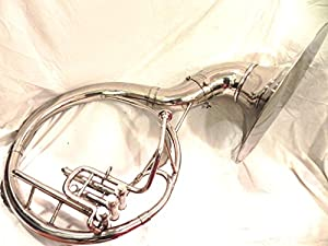 "Indian Handmade Silver Finish Brass Sousaphone 22"" With Free Mouth Piece / Bag"