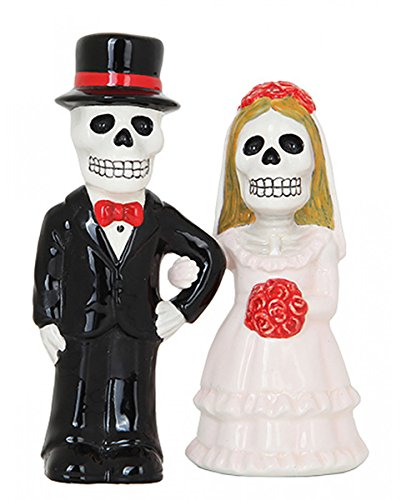 Horror-Shop Skelett Brautpaar Salz & Pfefferstreuer Set Love Never Dies