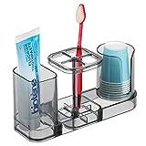 mDesign Organizador de baño para cuidado dental – Accesorio de baño en plástico con soporte para cepillos de dientes, dentífrico y vasos de enjuague bucal – Incluye 6 vasos – gris humo