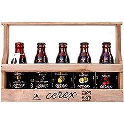 CEREX- Pack Degustación de 5 Cervezas Artesanas Españolas con caja regalo de presentación en madera – Cerveza de Cereza, Castaña, Ibérica de Bellota, Pilsen y Andares