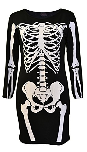 een Skeleton Skull Bone Red Blood Heart Girls Bodycon Costume Novelty Party Dress Tunic Plus Size 8-10-12-14 16 18 20 (12-14, Black Skeleton) by Vitageclothing ()