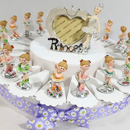 Torta bomboniera comunione battesimo con ballerine - kit tutto incluso - torta + 20 ballerina + centrale