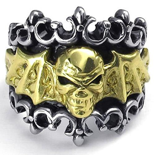 Acciaio Inossidabile Anello Uomo Retro Bat Biker Cranio Oro Nero Argento 22Mm 27,5 By (Argento Bat Anello)