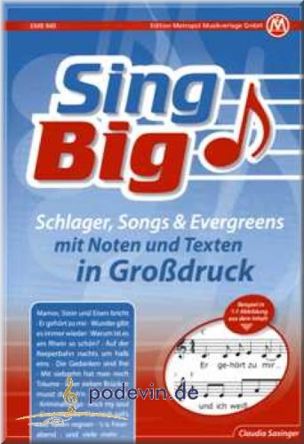 Sing Big Schlager Chansons Evergreens Notes Chansonnier