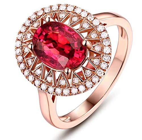 AnazoZ Echtschmuck 18 Karat 750 Rosegold Damen 3CT Hollow Rund Eheringe Rosegold Schmuck 60 (19.1) (Diamant-ring Fake 3 Karat)