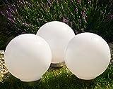Solar Kugelleuchte 3X 25cm Set Gartenkugel Gartenleuchte Außen Kugellampe Leuchtkugel Leuchte Design