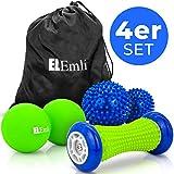 Set di massaggi professionali | 4 parti | Massaggio ai piedi per fascite plantare | 2x palla da riccio | Scooter pedonale con brufoli | Duoball - Twinball con borsa