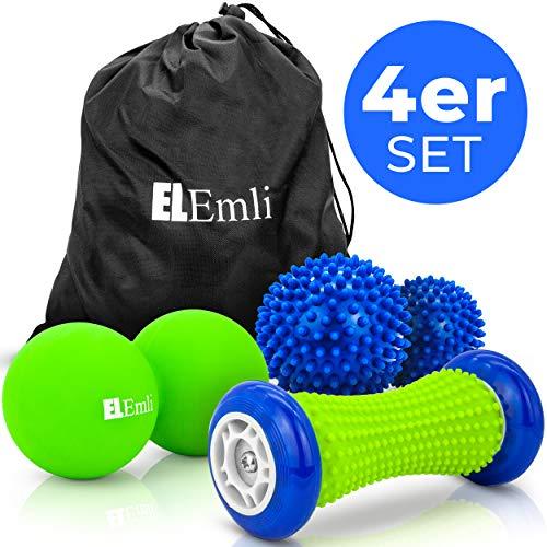 Professionelles Massage Set   4-teilig   Fußmassage für Plantar Fasciitis   2x Igelball   Fussroller mit Noppen   Duoball-Twinball   Massageball lindert Schmerz in Nacken und Fersen + Tasche