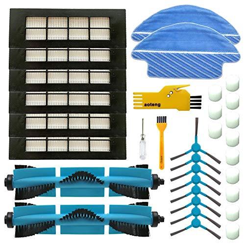 Pack de Accesorios de Repuesto para Robots aspiradora Conga con Cepillo Lateral y filtros MIRTUX Kit de recambios Esencial para Conga 1090