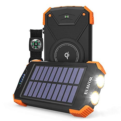 Wireless Power Bank Solar Ladegerät,10000mAh Externer Akku,Tragbare Notfall-Energie mit Type-C Eingangsports Dual LED-Lich,Kompass für iPhone,Samsung und andere Smartphones/Handys