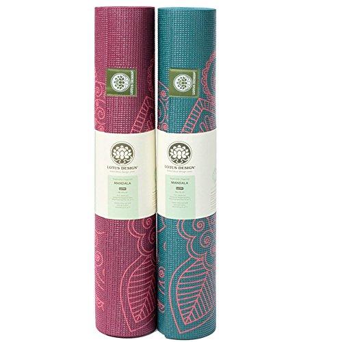 Lotus Design ECO-PVC Yogamatte mit Mandaladruck rutschfest und dämpfend