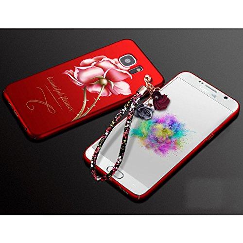 iPhone 7 / iPhone 8 Coque Strass Diamant Bling Luxe Sunroyal Coque pour iPhone 8,Rhinestone Housse Ultra Slim Cristal Brillant Téléphone Case avec 360 Degrés Rotation Bague Glitter Anneau Stand Holder Rouge Rose