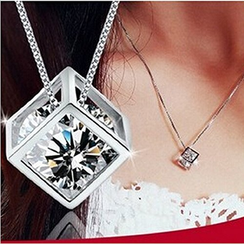 ITS -New Fashion Women Jewelry Necklace Magic Cube Sterling Silver 925 Crystal...