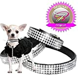 XXS Schwarz Chihuahua Strass Halsband Hunde Halsband