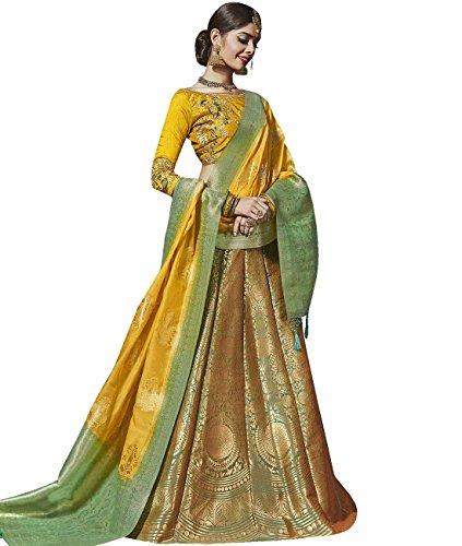 Indian Ethnicwear Bollywood Pakistani Wedding Green & Golden A-Line Lehenga Semi-stitched