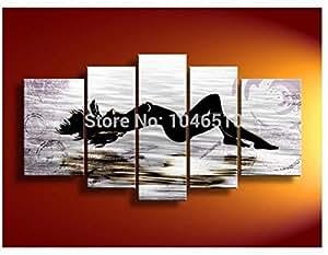 Grand HighQuality 5 pièces moderne femme fille corps œil nu érotique Sexy PEINTURE HUILE SUR TOILE TABLEAUX Art mural et décoration de la maison