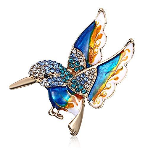 AILUOR Damen Antique Gold-Ton-Emaille-Vogel Hummingbird Multi Farbe Österreichische Kristall Brosche Schmuck blau Einstellbar