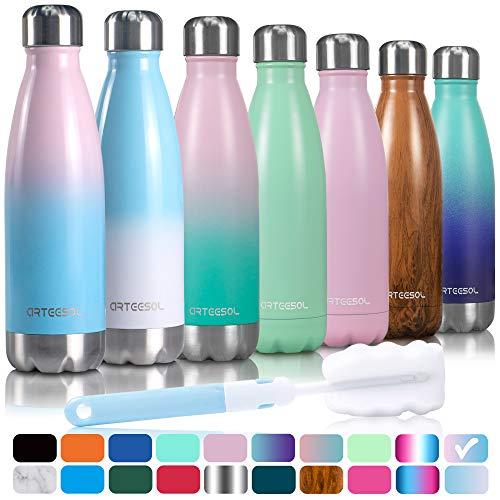 Arteesol bottiglia acqua, borraccia termica bottiglia acqua in acciaio inox doppia parete sport bottiglia 500/750/1000 ml bottiglia termica ideale per lo sport campeggio escursionismo ciclismo