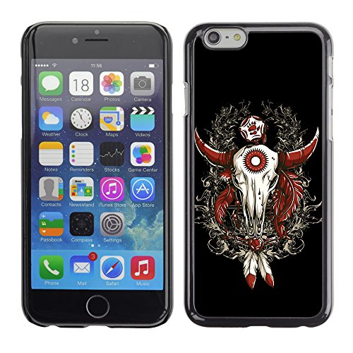 RAJCASE Premium Slim Polycarbonate Aluminium Cassa del telefono Custodia Case Bandiera Cover Armor / Cool Western Buffalo Skull Dreamcatcher / Apple Iphone 6 - Buffalo Scatti