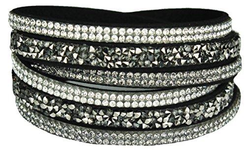 Mevina Damen Strass Armband Wickelarmband Armschmuck mit echten Kristallen in viele Farben Schwarz A1133
