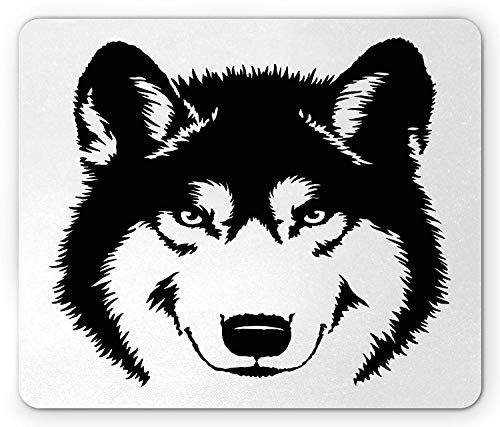 Wolf Mouse Pad, Predator Furry Wild Animal Drawing as Monochrome Image Forest Beast Portrait Gaming Mousepad Office Mouse Mat Black and White (Animal Große Furry)