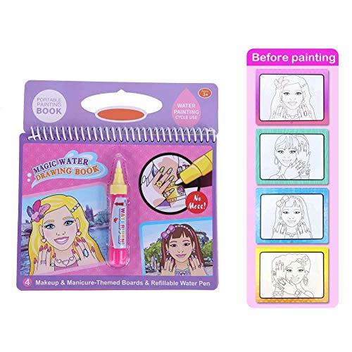 Libro da disegno ad acqua, libro da colorare magico portatile dell'acqua con il libro di disegno dell'acqua della penna magica per il regalo del giocattolo dei bambini( trucco di bellezza )