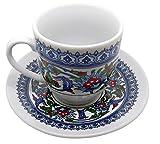 The Turkish Emporium Porcellana ottomano Turco Arabo Stile Greco Autentico Tazza di caffè Espresso con piattino da Portata 12 Pezzi