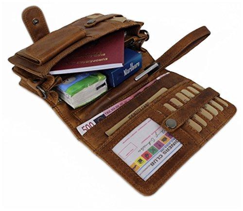 Hill Burry Umhängetasche / Organizer / Reisebrieftasche aus naturgegerbtem hochwertigem Leder 3172