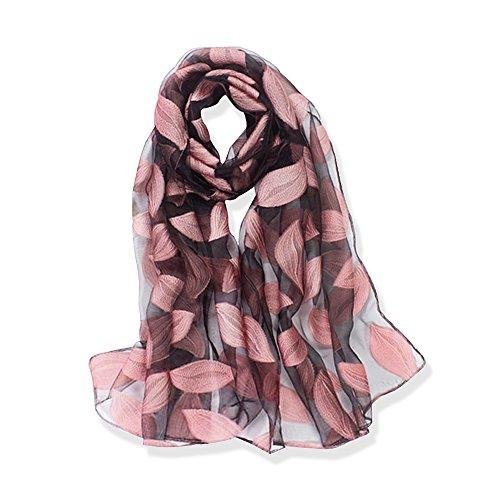 Yfzyt donna moda organza morbida sciarpa scialle collo avvolto foulard rubato, anti-uv modello di ricamo fiore chiffon sciarpa di seta scialle - foglie rosa