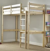Loft Bunk Bed with sprung mattress - Heavy Duty 3ft single wooden high sleeper bunkbed - CAN BE USED BY ADULTS