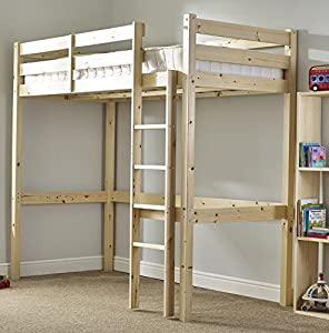 Short Length Loft Bunk Bed with sprung- Heavy Duty 2ft 6 Small single wooden high sleeper bunkbed - CAN BE USED BY ADULTS