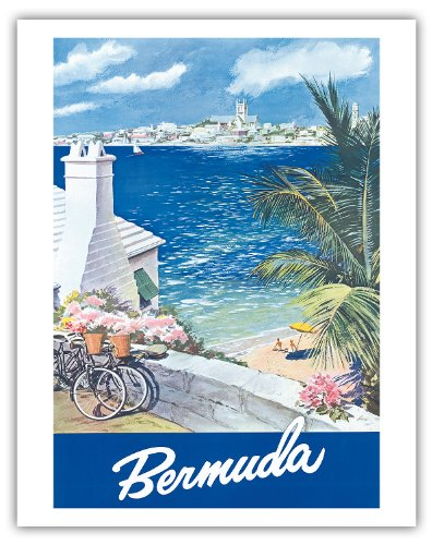 Pacifica Island Art Bermuda-Hamilton Waterfront, Hauptinsel, Somers Isles-Vintage World Travel Poster von Lesnon c.1950s-Kunstdruck 11