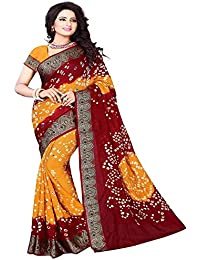 Esomic bandhani Mysore Silk Saree With Blouse Piece (maroon bandhani)