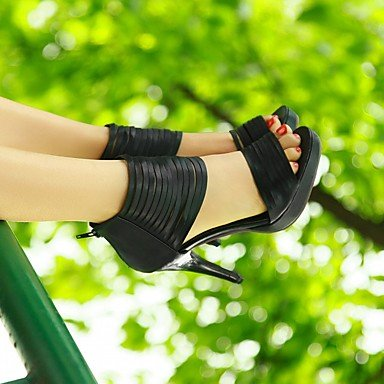 LvYuan Da donna Sandali Finta pelle PU (Poliuretano) Estate Autunno Footing Cerniera A stiletto Nero Beige 10 - 12 cm Black