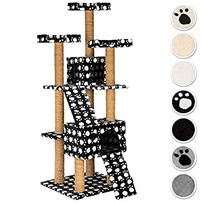 TecTake Large cat tree with scratching post activity center 169cm   3 platforms   2 caves - different colours -