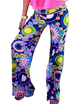 Kairrun Mujer Imprimir Talle Alto Ancho Pierna Palazzo Pantalones Floral Pantalones Acampanados Sueltos Casuales