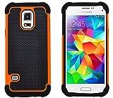 G-Shield Samsung Galaxy S5 Mini Hülle Silikon Stoßfest Schutzhülle Dünn Tasche Hybrid Armor Cover Case Etui Handyhülle mit Displayschutzfolie und Stylus (G800F) - Orange