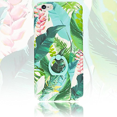 iPhone 6 6S Ring Hülle Handyhülle von NICA, Motiv Schutzhülle mit 360-Grad Fingerhalterung, Dünnes Hard-Case mit Ständer, Slim Back-Cover Etui für Apple i-Phone 6S 6 Phone, Designs:Passion Flower Rainforest