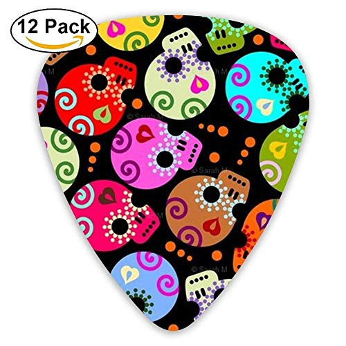 Cool Pink Sugar Skull Funny Celluloid Guitar Accessories/parts Bass Guitar Picks 0.46mm 0.71mm 0.96mm Unisex 12 ()