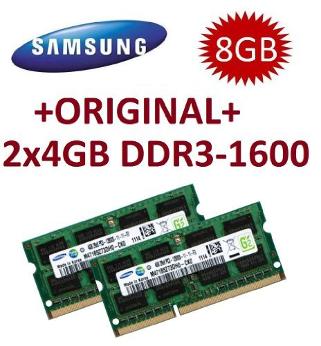 Samsung 8GB Dual Channel Kit 2 x 4 GB 204 pin DDR3-1600 SO-DIMM (1600Mhz, PC3-12800S, CL11) (Macbook Ram-speicher)