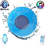Portable Waterproof Bluetooth Speaker (Blue) New Arrival Best Selling Premium Quality Lowes Price Support for Bluetooth & Wireless Transmission, Built In Microphone & High Charging Battery, High Quality Audio Decode Chip, Relax & Enjoy Wonderful Music, Unique Special Suction Cup Design, Can be Stuck on Any Surface like Desk, Wall, Window, Suitable for Bathroom, Beach, Swimming Pool, Home, Bedroom, Kitchen, Office, Conference, Business Trip & Vacation, Great Gift for Friends, Family, Boys & Girls