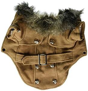 Smalllee lucky store Manteau en laine européenne avec col en fourrure pour petit chien ou chat
