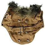 Pet Cat Dog Clothes European Woolen Fur Collar Coat Small Dog Cat Pet Clothes Costume Beige M 3