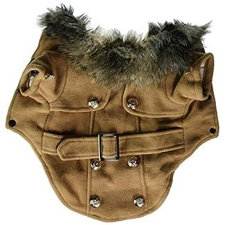 Pet Cat Dog Clothes European Woolen Fur Collar Coat Small Dog Cat Pet Clothes Costume Beige M 10