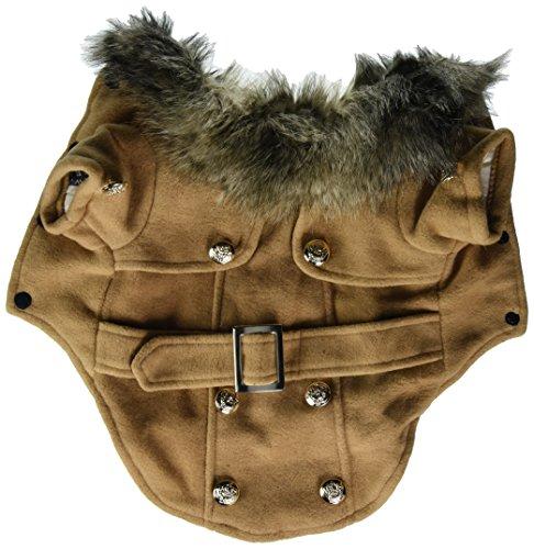 Pet Cat Dog Clothes European Woolen Fur Collar Coat Small Dog Cat Pet Clothes Costume Beige M 1